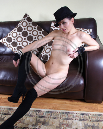 Nude Monika with Black Hat & Stockings